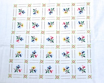 Vintage table cloth blanket embroidered cross stitch flowers handmade from the 50s of tablecloth flowers handmade mid century
