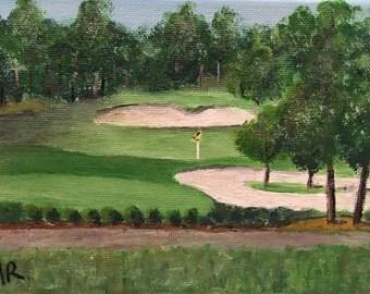 Hole 6; acrylic painting, canvas art, golf, green