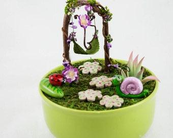 Fairy Dish Garden with Fairy Swing, Fairy Garde Item, Fairy Accessories, Faerie Decor, Whimsical Fairy Garden  Fariy Gift Set,Christmas Gift
