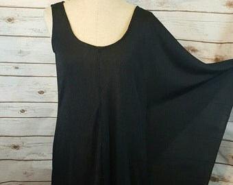 Vintage, 1970's asymmetrical black dress, Large, Disco dress
