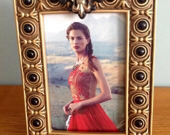 Gold Fleur de Lis photo frame with black details, Shabby Chic picture frame, antique gold black frame, Art Deco, French design photo frame