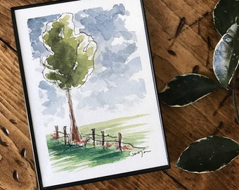 ORIGINAL ARTWORK - Watercolor Tree - Watercolor Flower field - [5x7 inches] - Does NOT come with frame