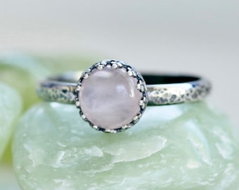 Pink Quartz Sterling Silver Ring, Hammered Oxidized, Gemstone Ring, Gift For Her