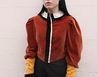Early 1900's velvet and crepe colour block costume blouse