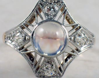 Edwardian Platinum over Gold Moonstone and Diamond Ring