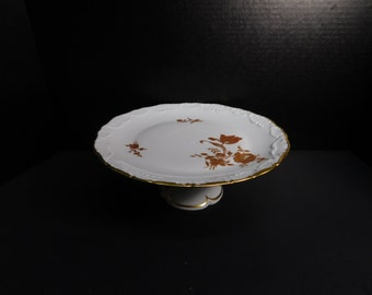 Limoges France Golden Rose Cake Plate