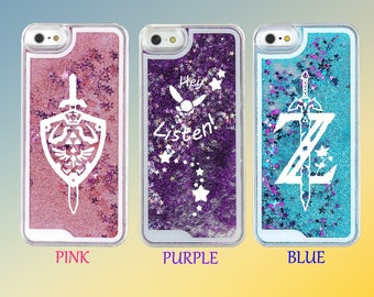Zelda Breath of the Wild Navi Triforce Waterfall Quicksand Liquid Glitter Phone Case - Mix n Match!