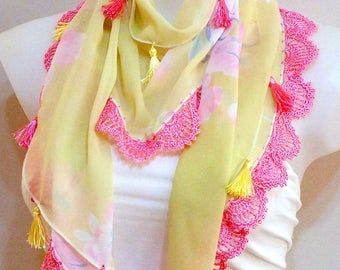 Spring lace scarf Fashion scarf Crochet lace scarf Chiffon scarf Fashion women accessories Necklace lariat Fashion Crochet scarf Gift ideas