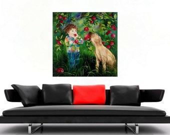 Oil Painting, For kids, Boy, Dog, Red apples, Nature, Insects