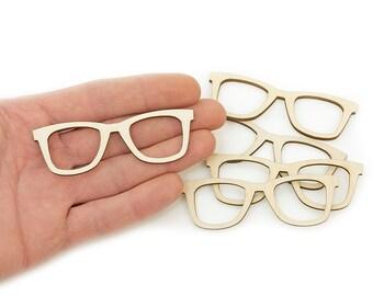 5x Wooden Glasses (8cm) Shapes Embellishment Craft Decoration wood sunglasses Wood Cut Out MG000385