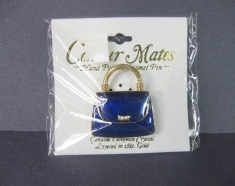 Vintage Blue Purse Brooch, Hand Painted Enamel Pin, Girlfriend Gift