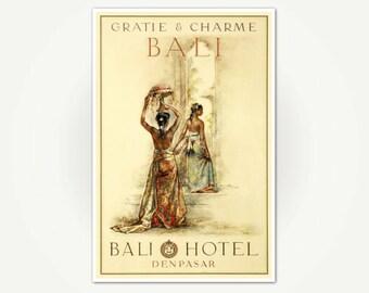 Beautiful Bali Travel Poster - Bali Hotel Denpesar Travel Poster Art Print - Gratie & Charme Bali Print