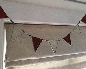 Handmade stained glass bunting very decorative suncatcher with glass beads