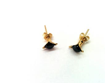 Gold Stud Earrings, Gold Small Studs, Gold Plated Earrings, Black Stone Earrings, Black And Gold Earrings, Minimalist studs, Stud Earrings