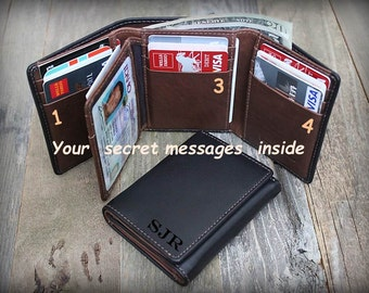 Personalized Mens Wallet - Father's Gift for him - Trifold Wallet - RFID Wallet - Gift for Dad - Leather Mens Wallet - Blk/Tof - 7133