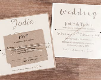 Personlised Wedding Invitations with RSVP, reception & wishing well.