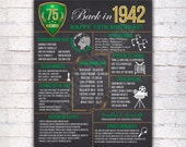 75th Birthday Chalkboard Poster Sign, 75 Years Ago Back in 1942 USA Events, Green & Gold, Instant Download Digital Printable File - 505