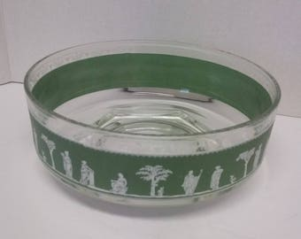 Vintage Jeanette Glass Hellenic Pattern Bowl/Table Ware/Fruit Bowl/Wedgewood/Centre Piece