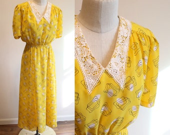 1940s style Yellow Geo and Lace Dress