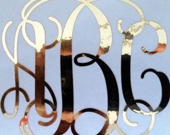 Monogram Decal / Gold Monogram Decal / Gold Chrome Decal / Gold Metallic Decal / Yeti Decal / Car Decal