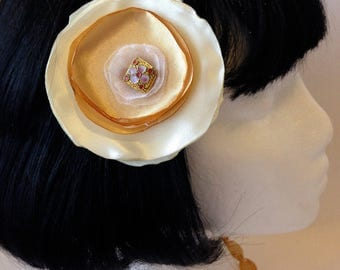 Cream and Gold Flower Hair Clip