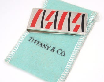 Rare Vintage c1994 Tiffany & Co. Enamel Sterling Silver Money Clip w/pouch