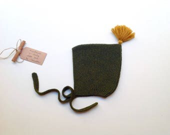 READY TO SHIP - 100% cashmere baby kid Pixie Bonnet  hat color Vert Cypress with mustard pom pom,  hand knitted,  size 3-6 months