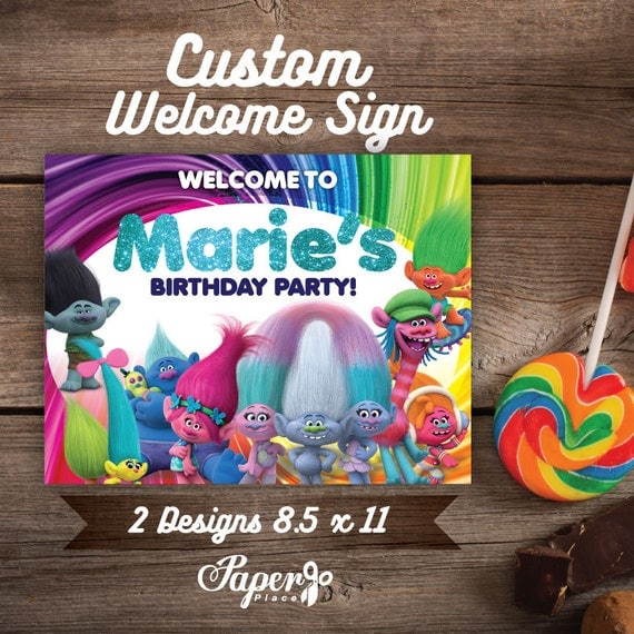 Trolls Personalized Welcome Signs