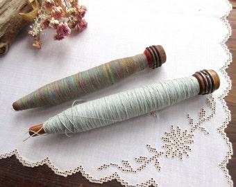 Vintage Bobbin Spools Wooden Bobbin Spool  Antique Old Wool Yarn Thread Colored Textile  Sewing Craft Room Prop Decor Supply