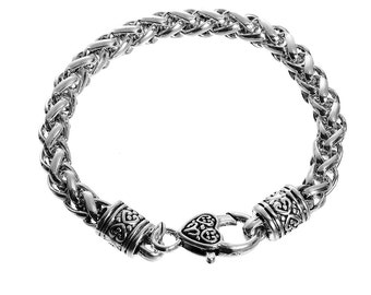 8 1/4 inch Antique Silver and and Silver Tone Braided Bracelet with Heart Clasp (1986)
