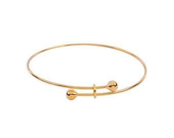 Adjustable Gold Plated Bangle Bracelet (1321)