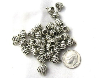 50 Antique Silver Barrel Charm Bails (s11f2)