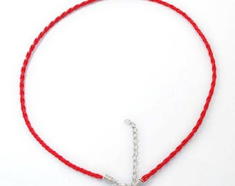 """2 Imitation Braided Leather Cord Necklaces with Lobster Clasps 16.5"""" Red (B164c)"""