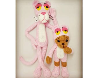 crochet pattern amigurumi Pinkpanther with bear