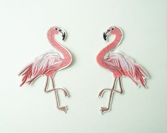 Set of 2 Pink Flamingos Embroidered Iron On Sew-on Patch DIY Applique