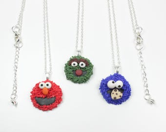 Monster Cookie Handmade Necklace Kitsch Cute Elmo Funky You Choose Comes Boxed
