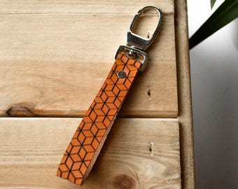 Leather Keychain with geometric pattern, leather Keyholder