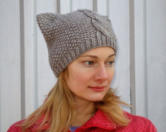 Knit pussyhat cat hat pussycat hat pussyhat project crochet pussy hat cat ear hat for cat beanie cat lover gift womens feminist beanie brown