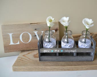 You and me always - wooden crate - wedding decor - little glass bottles