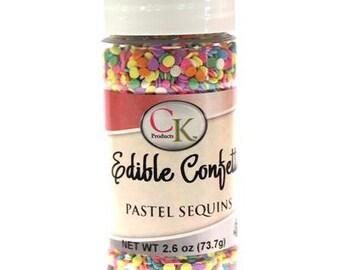 Edible Confetti Pastel Sequins - 2.6 oz