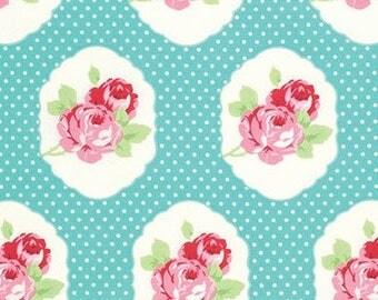 SALE Tanya Whelan Lola Frames Blue Fabric - Summer Fabric by the Yard - Aqua Blue - Pink Floral and Polka Dot - Girls Dresses - Quilt Fabric