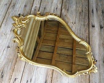 Gold mirror - Baroque mirror - Vintage wood - Mirror antique - Gold mirror - Baroque mirror -