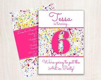Art/Paint PRINTABLE 5x7 Double Sided Invite