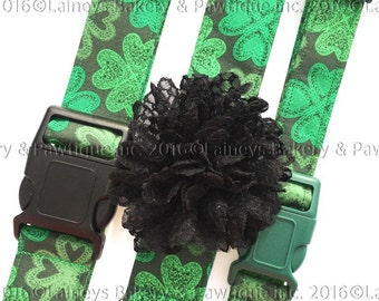Laineys Lacey Shamrock Material Dog Collars