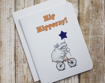 Celebration Card - Hip Hippo-ray! - Hippo - Bicycle - Balloon - Cute - Pun - Funny - Birthday - Hippopotamus