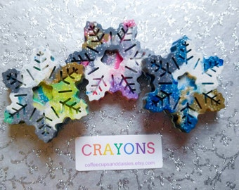 Kids party favors - Crayons - Gifts under 10 - Snow party - Winter birthday - snowflake party favor - Kids winter gift - snowflake crayons