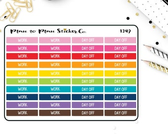 1349~~Work / Day Off Header Planner Stickers
