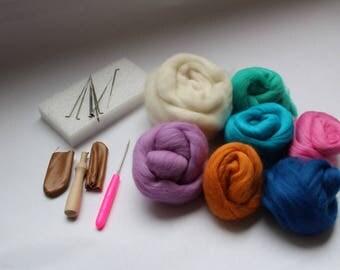 Beginner Felting Kit with Roving, Weaving Supplies Kit, Video Tutorials Provided