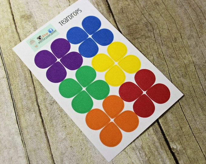 Rainbow Teardrop Planner stickers - Dewdrop Stickers - Use in Erin Condren Planner - Happy Planner - Reminder Sticker - Functional sticker
