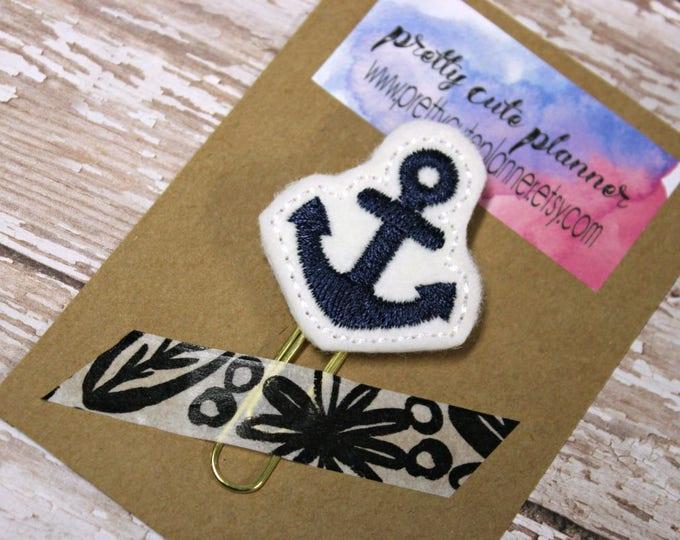 Planner Clip - Planner Bookmark - Anchor Planner clip - Nautical Planner clip- Felt Planner Clip - Felt Bookmark - Feltie - Clip